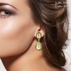Traditional Antique Delicate Kundan Earrings