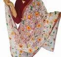 Indian Floral Work Dupatta-Organza Dupatta-Long Scarf-Wedding Dupatta