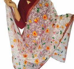Indian Floral Work Dupatta-Organza Dupatta-Long Scarf-Wedding Dupatta