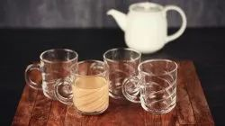 Femora Glass Cross Tea Mug Coffee Mug - Set of 4-220 ML