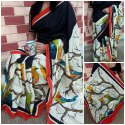 Party wear Ladies Silk Hand Printed Saree, With Blouse Piece, Machine wash