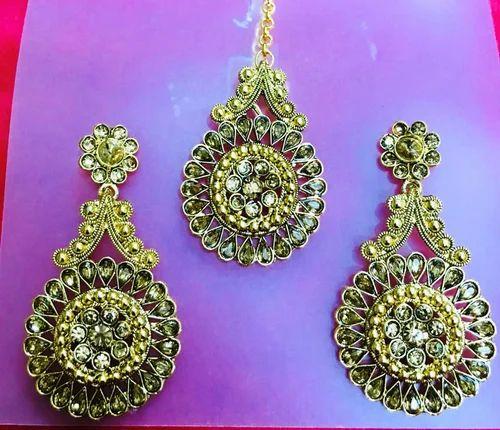 Golden Chandelier Indian Earrings Maang Tikka Stone Jewellery