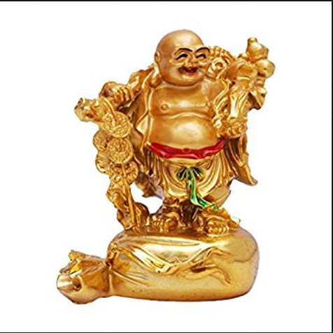 Golden Gold Plated Laughing Buddha Carrying Money Bag Id 17580520097