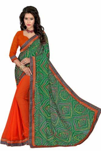 6ce5d28483 Chiffon Printed Bandhani Saree With Border, Rs 559 /piece | ID ...