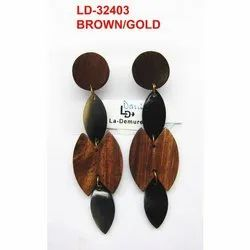 Wooden Daily Wear And Formal Wear LD-32403 Fashion Earrings, Size: 3 - 4 Inches