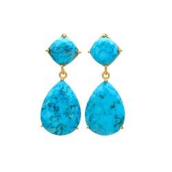 Turquoise Gold Plated Gemstone Earring