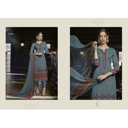 Cotton Grey Casual Embroidery Pakistani Suit