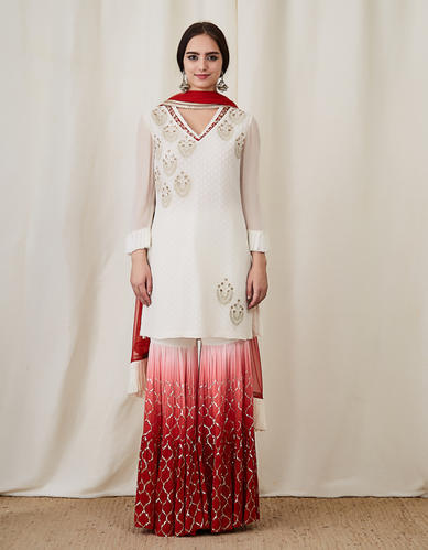 dbfc31105d Georgette Shaded Red Sharara With White Kameez