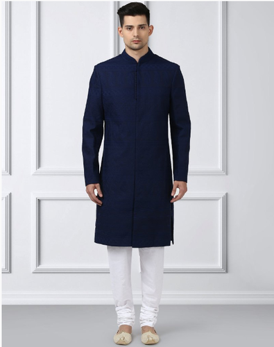 e78c69d4184984 Ethnic Navy Blue Regular Fit Sherwani With Churidar at Rs 16995 ...