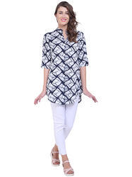Shirt Style Printed Long Top