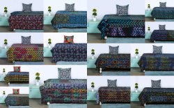 Double Bed Vintage Kantha Quilt Embroidery Cotton Gudari