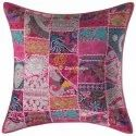 Dark Pink Embroidered Square Cushion Covers