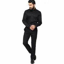 Plain Mens Black Satin Party Wear Shirt 0, Size: 36-44