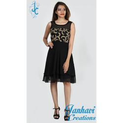 976cbe5e8 Georgette And Net Black Fancy Knee Length One Piece Dress, Rs 3000 ...