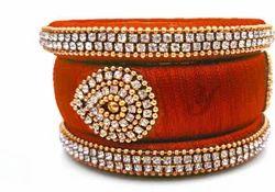 Orange Designer Silk Thread Bangle Set