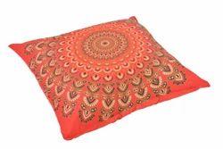 Red Peacock Badmeri  Cushion Cover