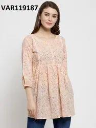 Peach Cotton Printed Top, Size: XXL