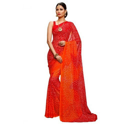 Red-Orange Bandhani Saree