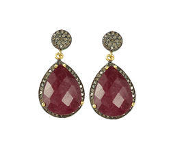 Dyed Ruby Pave Diamond Set Earrings