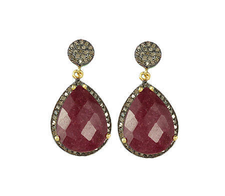 Pear Red Dyed Ruby Pave Diamond Set Earrings, Packaging Type: Box