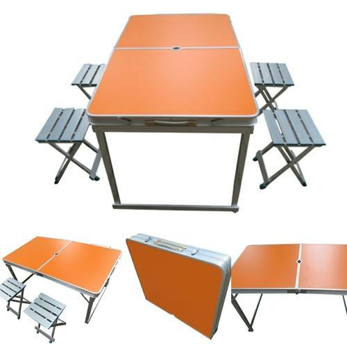 Amaze Folding Picnic Table 120 Separate Chairs Orange Rs