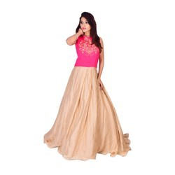 Medium And XL, Pink And Golden, Ladies Gown