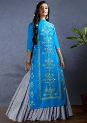 Aqua Blue And Grey Lehenga Kameez