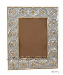 Pure Silver Photo Frame (Gold Accent)