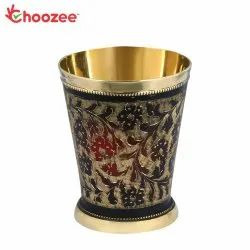 Choozee - Brass Glass with Black Handwork for Home, Capacity: 300 mL