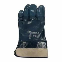 Full Finger Shiv Enterprises Rajkot nitrile dipped Hand Gloves cuff, Size: Small to XL