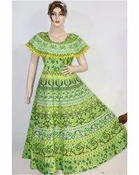 Green Rajasthani Printed Frock
