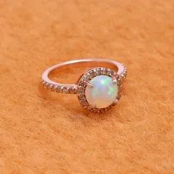 Diamond Opal Ring in Sterling Silver with Fine Gold Plating