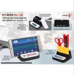 C75 - Powerglow USB HUB With Mobile Stand And Logo Highlight (Back USB Ports)