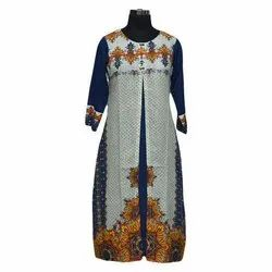 Ladies 3/4th Sleeve Party Wear Casual Printed Kurtis, Size: S