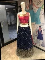 Party Wear Printed Net Ghaghra Crop Top