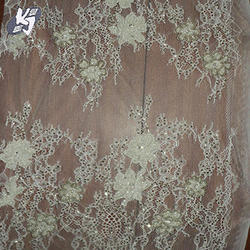 White Tulle Embroidery Designer Lace Fabric, Packaging Type: Roll