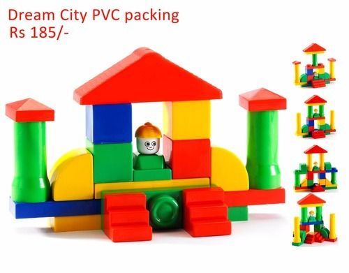 Multicolor Dream City PVC Packing Educational Building Blocks Set for Kids