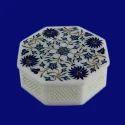 Trinket Box White Marble Semi Precious Stone