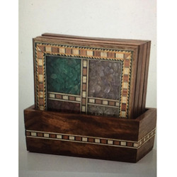 Wooden Gemstone Painting Coaster Set