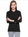 Full Sleeve Pintapple Womens Cotton Henley Black Top