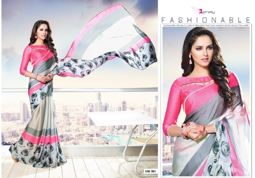 98fe64816c946c Multicolor KARMA FRESH LOOKS SATTIN PATTA SAREE, Machine Made ,6.3 m (with  blouse