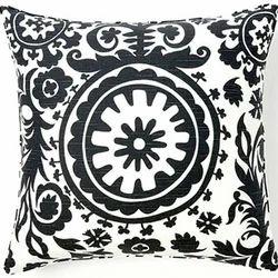 Black Print Suzani Embroidered Cushion Cover