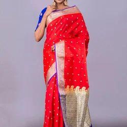 Party Wear Banarasi Silk Saree, With Blouse Piece