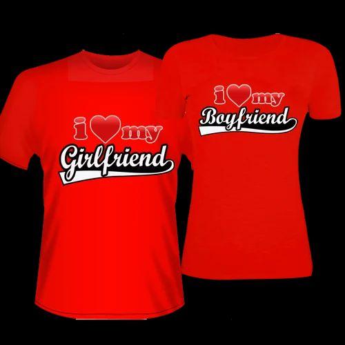 Cartoon Couple Design Tees Shirts Couple Tee Tops T Shirt: Cotton Red Couple Tshirt, Size: Large, Medium, XL, Small