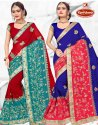 Dyed Georgette Heavy Embroidery work Saree with Lace - Shakti