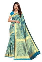 Blue Banarasi Silk Weaving Work Saree,6.3M
