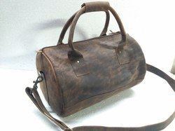Vintage Leather Small Gym Bag