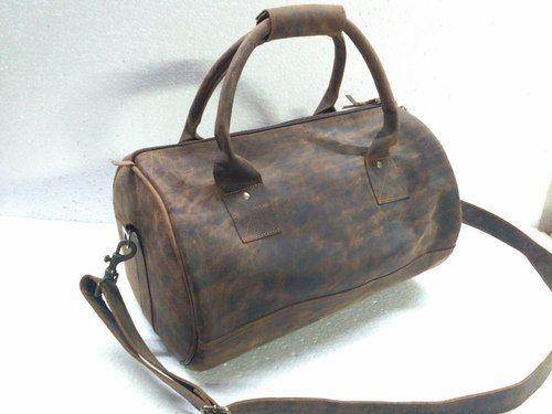 7138b03e4adb Vintage Brown Leather Overnight Duffel Bag