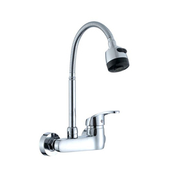 Sink Mixer Wall Mounted Flexible Spout With Dual Flow