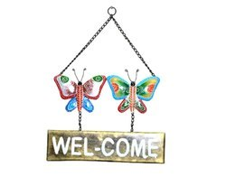 Handpainted Butterfly Welcome Wall Decor Iron Craft